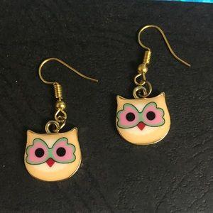Cute yellow owl earrings